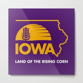 Iowa: Land of the Rising Corn - Purple and Gold Edition Metal Print