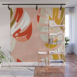 shapes leave minimal abstract art Wall Mural