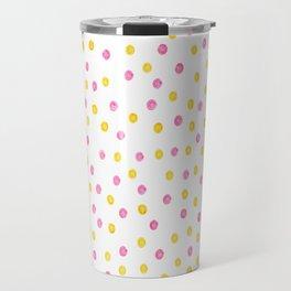 Yellow and pink polka dots Travel Mug