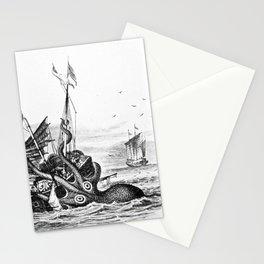 1810 vintage nautical octopus steampunk kraken sea monster drawing print Denys de Montfort retro Stationery Cards