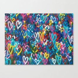 Graffiti Hearts Love (Color) Canvas Print