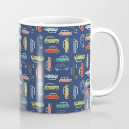 Colorful Mini Coopers on Blue Coffee Mug