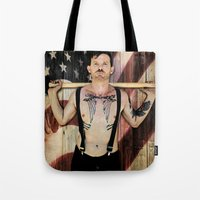 work hard Tote Bags featuring Hard work by D. H. Carter
