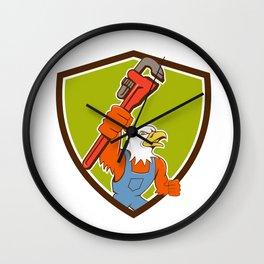 Bald Eagle Plumber Monkey Wrench Crest Cartoon Wall Clock