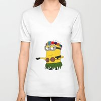 minion V-neck T-shirts featuring Hawaii Minion  by The Big Duo
