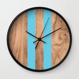 Wood Grain Stripes Light Blue #807 Wall Clock