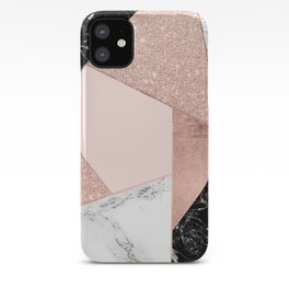 Modern rose gold glitter black white marble geometric color block iPhone Case