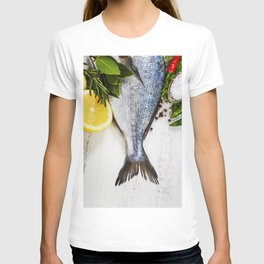 fresh dorado fish and vegetables on wooden board T-shirt