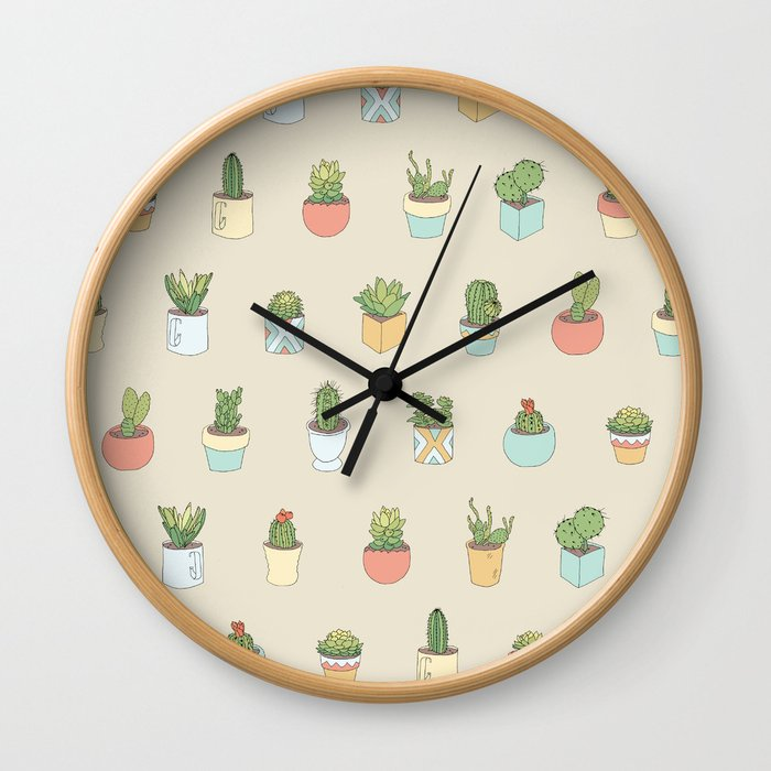 Cute Succulents Wall Clock
