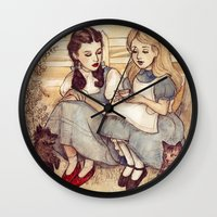 poster Wall Clocks featuring Dorothy and Alice by Helen Green