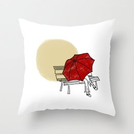 girl hide behind the red umbrella Throw Pillow