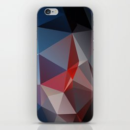 Blues and Reds Abstract Pyramid Art iPhone Skin