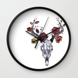 Deer Skull with Roses Wall Clock