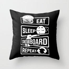 Eat Sleep Snowboard Repeat - Winter Snow Sports Throw Pillow