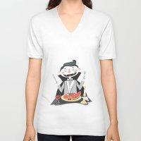 vegan V-neck T-shirts featuring Vegan Vampire by Ukko