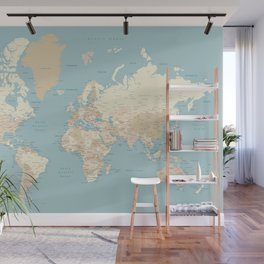 "Cream, brown and muted teal world map, ""Jett"" Wall Mural"