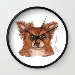 Alvin the Long-haired Chihuahua Wall Clock