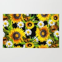 sunflowers Area & Throw Rugs featuring Sunflowers by Saundra Myles