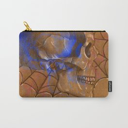 Electric Blue Traditional Skull  Carry-All Pouch