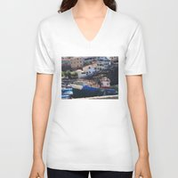 boats V-neck T-shirts featuring Fishing Boats by Mr and Mrs Quirynen