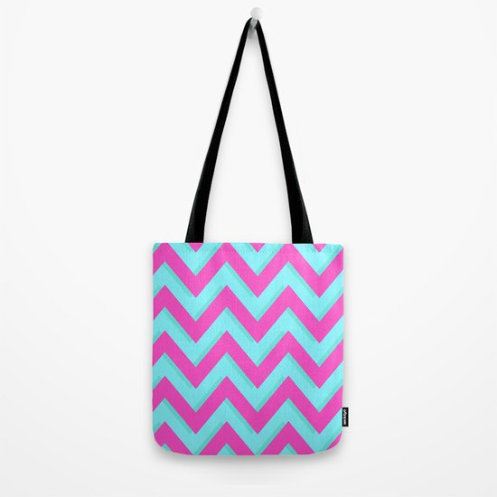 3D CHEVRON TEAL & PINK Tote Bag