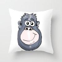 ape Throw Pillows featuring Ape by Eric Allen