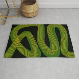 Green line abstract Rug