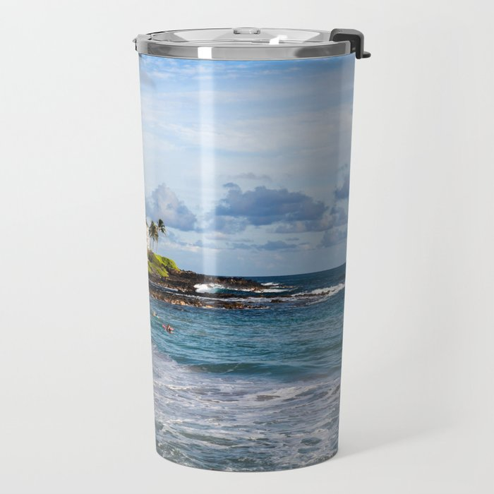 Surfers in Poipu Travel Mug