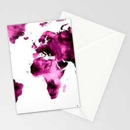 World Map in Pink Paint Stationery Cards