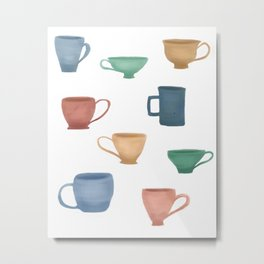 Colorful Tea Cups and Coffee Mugs Metal Print