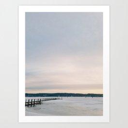 Sunset over Frozen Lake Art Print