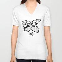 luigi V-neck T-shirts featuring Mario & Luigi - BROS by La Manette