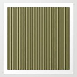 Trendy French Khaki Mattress Ticking Black Double Stripes Art Print