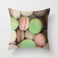 macaroons Throw Pillows featuring French Macaroons by Laura Ruth