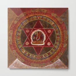 Vajrayogini stands in the center of two crossed red triangles Metal Print
