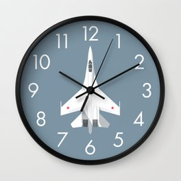 Su-27 Flanker Fighter Jet Aircraft - Slate Wall Clock
