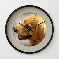 golden retriever Wall Clocks featuring Happy Golden Retriever  by MyLove4Art