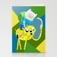 finn and jake Stationery Cards featuring Jake and Finn by victorygarlic - Niki