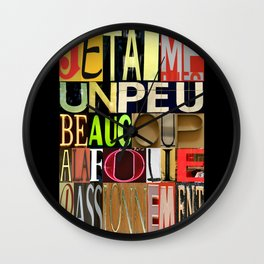 JE T'AIME 01 Wall Clock