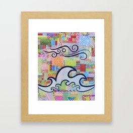 The Tide is High colorful ocean wave sky collage Framed Art Print