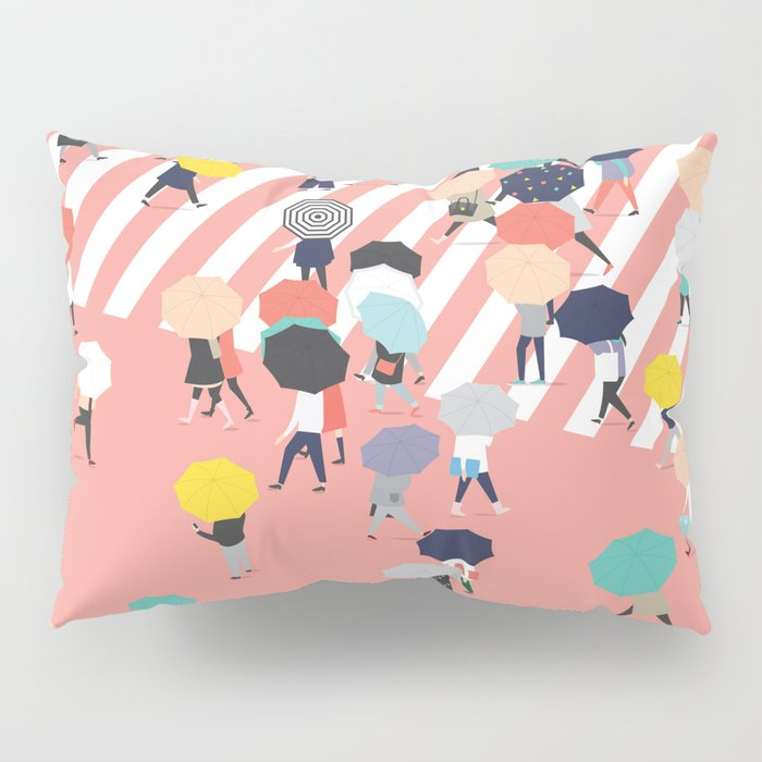 Crossing The Street On a Rainy Day Pillow Sham