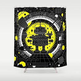 Music Robot Shower Curtain