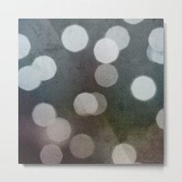 Charcoal Gray and Cream Bokeh Dots Pattern Metal Print