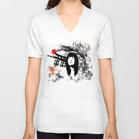 subaru V-neck T-shirts featuring Japanese Geisha Warrior by viva la revolucion