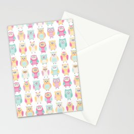 Pastel Owls in a Row - Owls Pattern - for owl Stationery Cards