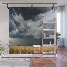Cotton Candy - Storm Clouds Over Wheat Field in Kansas Wall Mural