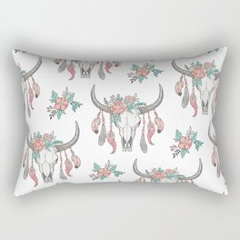 Boho Longhorn Cow Skull with Feathers and Peach Flowers Rectangular Pillow
