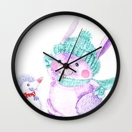 Rabbit and Hedgehog Wall Clock