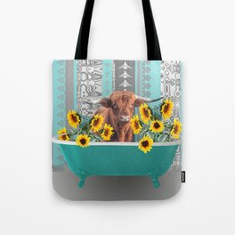 bathtub with Highland cow and sunflowers Tote Bag