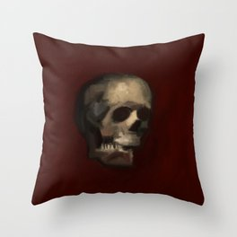 Cracked Skull illustration painting Throw Pillow